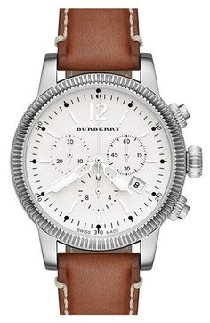 Burberry Round Leather Strap Watch, 42mm | Nordstrom
