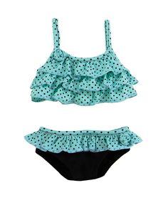 """18/"""" Doll Green /& Black Polka-Dot Bikini fits 18/"""" Doll Swimsuit"""