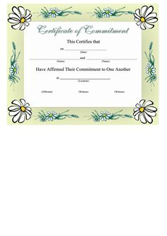 Commitment To One Another Certificate Template