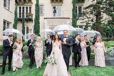 VALORIE DARLING PHOTOGRAPHY » Rainy day wedding. Clear umbrella bridal party, Monique Lhuillier Wedding Dress, Palihouse Santa Monica Wedding, Cielo Farms Wedding, Large Bridal Parties, 2016 Wedding Party Style