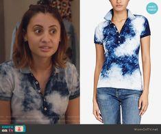 Ana's blue dye print polo shirt on Grown-ish.  Outfit Details: https://wornontv.net/88510/ #Grown-ish