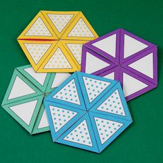 Tri-hexaflexagons templates to print - different patterns. Kids love making and playing with these.