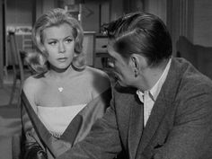 """Thursday, November 12, 1964: Episode #9 - """"Witch of Wife""""..Darrin's angry: Sam has agreed to have lunch with Endora---in Paris. Darrin: Dick York. Samantha: Elizabeth Montgomery. Endora: Agnes Moorehead. Tate: David White. Louise: Irene Vernon. Waiter: Peter Camlin. Man: Jon Coons."""