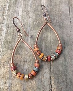 Natural Stone Copper Hoop Earrings Boho Jewelry Rust, Mustard, Sage Green Colorful Jewelry E232 by Lammergeier on Etsy https://www.etsy.com/listing/171414887/natural-stone-copper-hoop-earrings-boho: