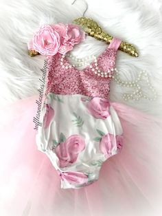 5c976aeb4ec WHS    Kryssi Kouture Exclusive    Girls First Birthday Pink Whimsical Rose  Sparkle Sequence Tutu Romper Bodysuit