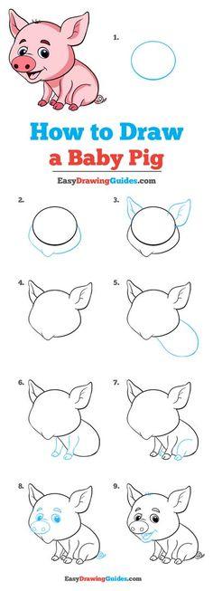 Cartoon Drawing Tutorial, Cartoon Drawings, Easy Drawings, Baby Animal Drawings, Amazing Animals, Pig Drawing, Drawing Tutorials For Beginners, Cute Little Drawings, Online Drawing