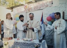 Bergoglio celebrates a Mass in a Buenos Aires slum, in 1998. As Archbishop of Argentina's largest city, he encouraged his best priests to live in the slums, joining them for Mass and often walking through the shantytowns. Parroquia Virgen de Caacupe/Reuters.