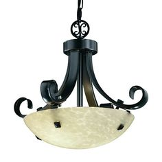 Fusion Matte Black LED 14-Inch Round Bowl Pendant with Scrolls and Finial