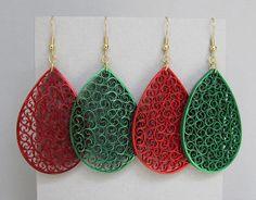 Quilled orecchini, 2 coppia metallico rosso su rosso e verde su verde carta filigrana