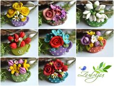 Martisoare - polymer clay brooch- polymer clay flowers - spring flowers by Zubiju Polymer Clay Flowers, Fimo Clay, Polymer Clay Charms, Polymer Clay Projects, Polymer Clay Art, Clay Crafts, Polymer Clay Jewelry, Jumping Clay, Cold Porcelain Flowers