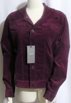 NEW Womens Ladies JAG Purple Stretch Blend Corduroy Jeans Style Jacket L #Jag #CorduroyJacket #Casual