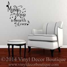 Music is Love in search of a word Vinyl Wall by VinylDecorBoutique