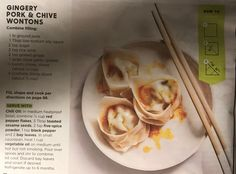 Gingery pork & chive wontons Low Sodium Soy Sauce, Wontons, Rice Wine, Garlic, Dinner Recipes, Pork, Lunch, Asian, Dishes