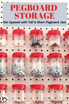 Your Garage Pegboard Will Be an Organization Oasis With Our Tall Pegboard Jars. Pegboard Craft Room, Pegboard Garage, Pegboard Organization, Garage Storage, Storage Boxes, Storage Spaces, Craft Rooms, Organization Ideas, Tuff Shed