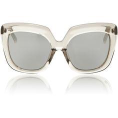 Linda Farrow Grey Lucite Sunglasses found on Polyvore featuring accessories, eyewear, sunglasses, glasses, sunnies, clear, grey glasses, clear eyewear, linda farrow eyewear and linda farrow