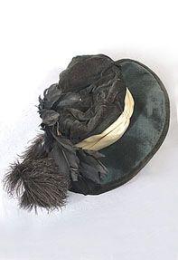 Wide brim velvet hat, c.1910