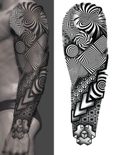 Geometric Tattoo Sleeve Designs, Geometric Tattoo Pattern, Geometric Mandala Tattoo, Geometric Tattoos Men, Full Sleeve Tattoo Design, Full Body Tattoo, Ship Tattoo Sleeves, Leg Sleeve Tattoo, Tribal Sleeve Tattoos