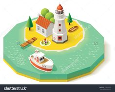 Vector Isometric Icon Representing Lighthouse Building With Pier, Ship, Boat And House On The Island - 278654093 : Shutterstock