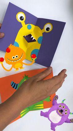 Halloween Pop Up Cards, Halloween Crafts, Spooky Halloween, Bday Cards, Kids Birthday Cards, Birthday Card Pop Up, Kids Pop, Pop Art For Kids, Easy Art For Kids