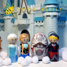 Frozen-inspired Peg Doll People Set - Anna, Elsa, Kristoff, Sven And Olaf With…
