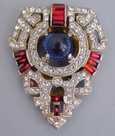 Patriotic Jewelry for the 4th of July: DeRosa Dress Clip.  Blue cabochon with red and clear rhinestones, circa 1940, 2″.