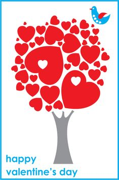 Valentine's 'Tree of Hearts' - free pdf greetings card template to download and color in