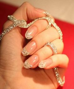 Gold and White Wedding. Manicure, Pedicure, Nails. Diamond manicure...10 carats, Diamond necklace
