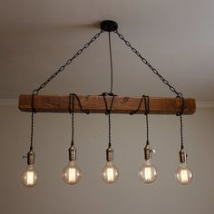 Handmade Rustic Wooden Chandelier – Wood Beam Industrial Pendant Lamp - All For Decoration Lampe Industrial, Industrial Chandelier, Rustic Lamps, Rustic Lighting, Industrial Lighting, Rustic Industrial, Industrial Hanging Lights, Wooden Chandelier, Wooden Lamp