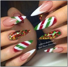 Christmas Nails – 36 Beautiful And Stylish Christmas Stiletto Nail Art Designs; Xmas Nails, Glitter Nails, Fun Nails, Gold Glitter, Christmas Acrylic Nails, Simple Christmas Nails, Disney Christmas Nails, Jamberry Christmas, Santa Nails
