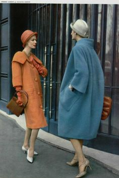 1958 coats Cardin and Jacques Griffe vintage fashion style unique orange blue late 50s to early 60s designer models magazine photo print ad