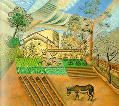 El huerto 1918. Masias con su huerto. Joan Miró, con un influencia del cubismo en la geometría de los elementos, y en la plasmación de las nubes del cielo: reposadas y ambientes apacibles.