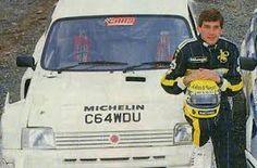 Ayrton with a rally car