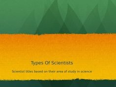 This product introduces 20 different types of scientists and what they study.If you are interested, the is a worksheet and activity to accompany this PowerPoint in my store.