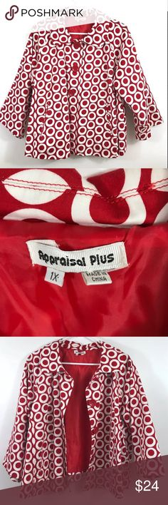 """APPRAISAL PLUS Crop Swing Coat Red & White Jacket APPRAISAL PLUS Red & White Crop Swing Coat Jacket  Button Down  3/4 Sleeve   EXCELLENT LIKE A CONDITION  No flaws, tears or marks. Freshly Cleaned.   SIZE: 1X PLUS Underarm to Underarm: 24"""" Length: 24""""  Thanks for checking out my Closet! APPRAISAL PLUS Jackets & Coats"""