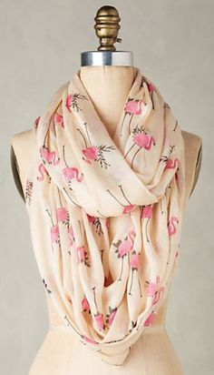 pretty flamingo print infinity scarf