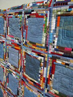 Denim Jean quilt, tiny scraps, by Edeltraud Ewert