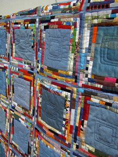 Denim Jean quilt, tiny scraps, by Edeltraud Ewert
