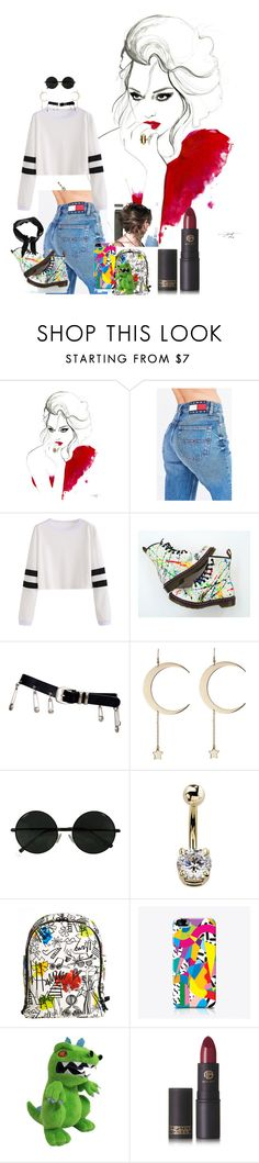 """""""I got bored"""" by appleface80 ❤ liked on Polyvore featuring Tommy Hilfiger, Versace, Roberto Cavalli, Alice + Olivia, The Small Print., Lipstick Queen and Boohoo"""