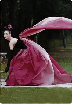 Photographed by Steven Meisel for Vogue US 1994. Model Kirsty Hume in black and pink taffeta ball gown by Christian Lacroix. More Great Looks Like This