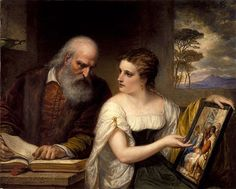 Philosophy and Christian Art Daniel Huntington (American, Oil on canvas. The painting depicts opposing, but equally worthy, points of view. The wisdom of the aged scholar,. Huntington Museum, Portraits, Christian Art, Large Art, Art Reproductions, Art Google, New Art, Art Museum, Art History