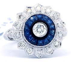 Zzz  024 Carat Center Diamond and Blue Sapphire Accents 18K White Gold Antique Ring [RA0014]