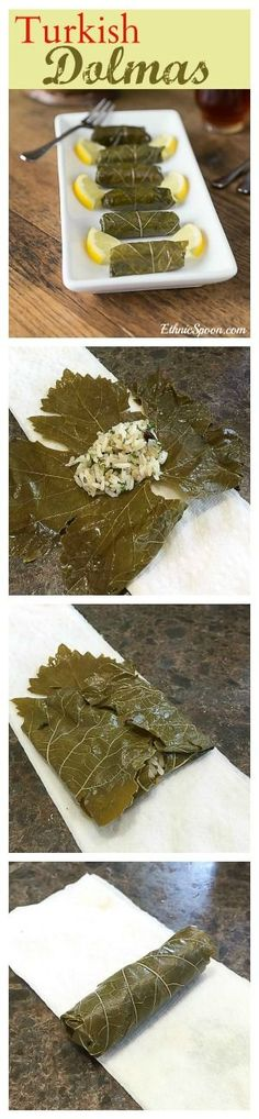 Turkish style dolmas and how to roll them before steaming. A traditionally dairy-free dish that tastes so rich! Turkish Recipes, Greek Recipes, Stuffed Grape Leaves, Eastern Cuisine, Cooking Recipes, Healthy Recipes, Middle Eastern Recipes, Arabic Food, Mediterranean Recipes