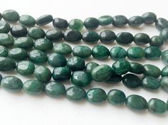 Emerald Plain Oval Nugget Beads Emerald Necklace by gemsforjewels