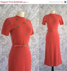 1950s Coral Pink Beaded Sweater Set $74.00