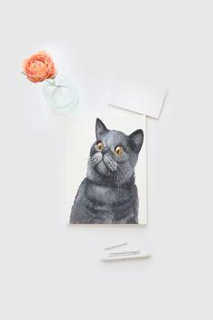 Crazy cat lady card Watercolor cat card hand by Papierscharmants