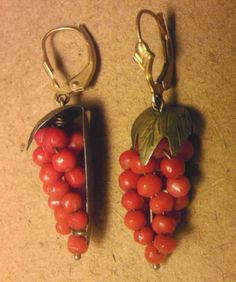 Antique Victorian Carved Coral Bead Grape 14k Gold Earrings   eBay