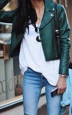 casual outfit idea green biker jacket   blouse   jeans