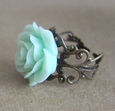 Mint Green Rose Ring - Antique Brass Bronze Filigree Ring Pastel Green Floral Flower Ring Valentine's Day Ring on Etsy, $9.98