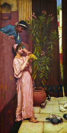 john william waterhouse prints | The Courtship (Sweet Offerings)