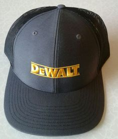 9e25025a547 Richardson DeWalt Embroidered Spell Out Cap Gray Mesh Back Snapback Work Hat   fashion  clothing